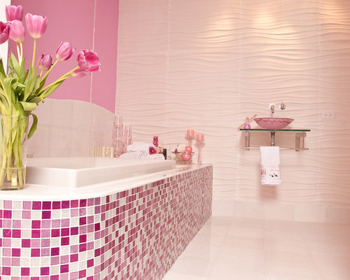 pink bathroom tiles glitter tiles design ideas amp remodel pictures houzz 13975