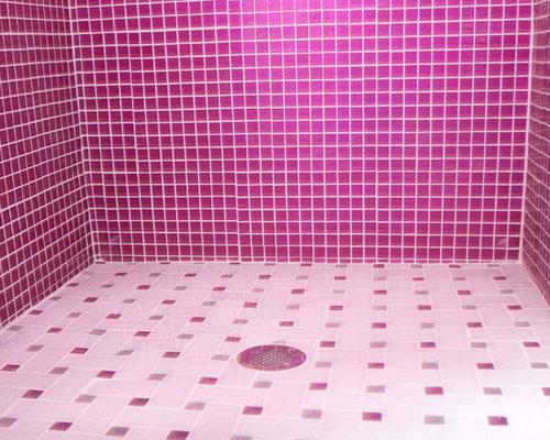 imagen de cuarto de bao minimalista grande con armarios abiertos baera encastrada azulejos rosa with azulejos mosaicos para baos - Azulejos Rosa