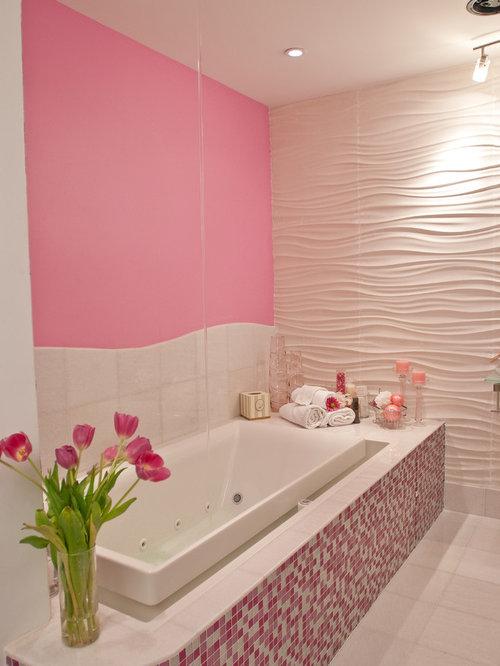 75 Modern Pink Tile Bathroom Ideas: Explore Modern Pink Tile ...