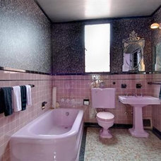 Eclectic Bathroom Pink Silver Black bathroom
