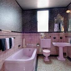 Eclectic Bathroom Pink Silver Black bathroom