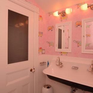 Idee per una stanza da bagno per bambini shabby-chic style di medie dimensioni con nessun'anta, ante bianche, vasca ad alcova, vasca/doccia, WC a due pezzi, piastrelle bianche, piastrelle diamantate, pareti rosa, pavimento con piastrelle a mosaico, lavabo rettangolare, pavimento blu e doccia con tenda