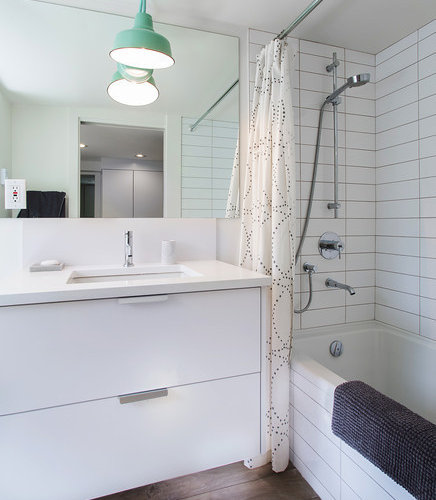 Modern Rustic Tub Shower Combo Design Ideas Remodels Photos With Ceram