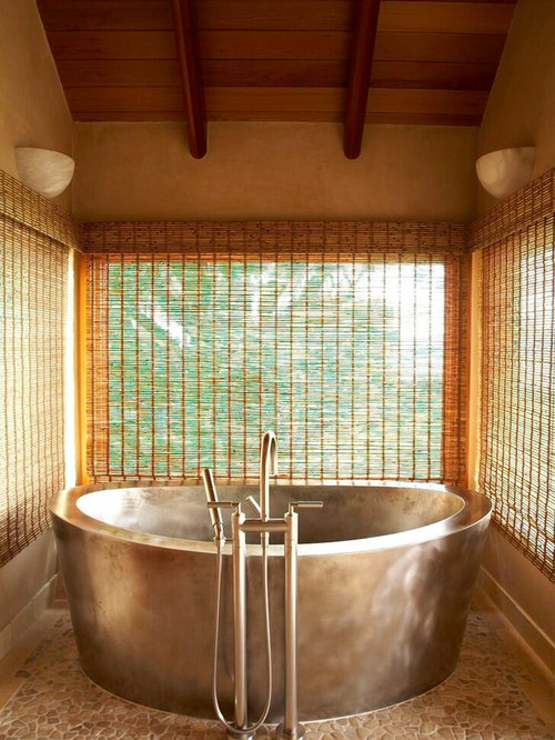 Inspiration For A Tropical Stone Tile Freestanding Bathtub Remodel In Hawaii