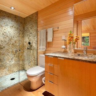 Imagen de cuarto de baño con ducha, clásico renovado, pequeño, con lavabo bajoencimera, armarios con paneles lisos, encimera de granito, ducha empotrada, sanitario de dos piezas, baldosas y/o azulejos marrones, suelo de madera en tonos medios y puertas de armario de madera oscura