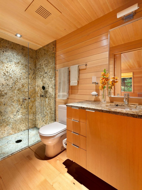 Inspiration For A Small Transitional 3/4 Brown Tile Medium Tone Wood Floor  Alcove Shower