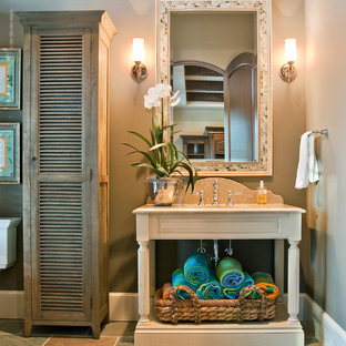 Elegant stone tile bathroom photo in Charleston with louvered cabinets, gray walls and light wood cabinets