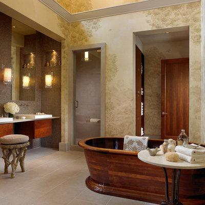 Freestanding bathtub - contemporary mosaic tile freestanding bathtub idea in Nashville