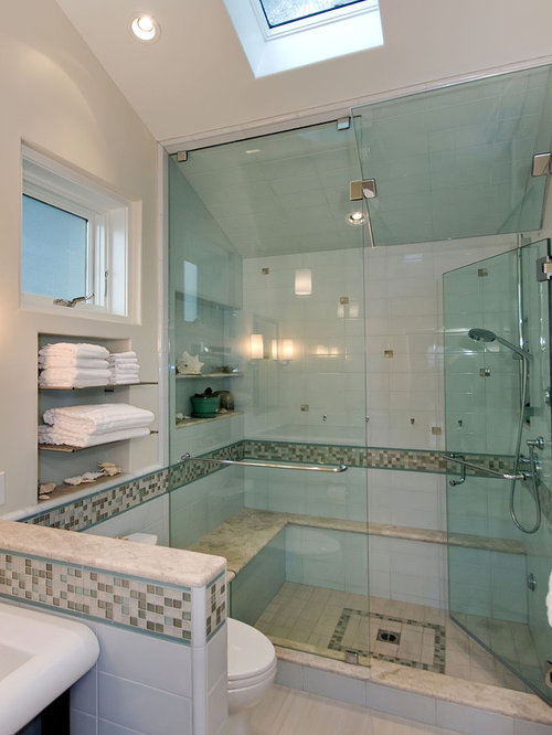 Example Of A Trendy Multicolored Tile And Mosaic Tile Alcove Shower Design  In San Francisco