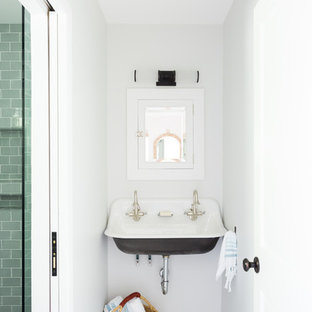 Alcove shower - small beach style 3/4 subway tile and blue tile marble floor and gray floor alcove shower idea in Los Angeles with a wall-mount sink, a two-piece toilet and gray walls