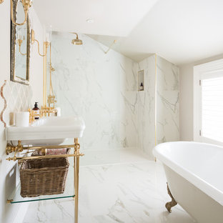 Photo of a classic ensuite bathroom in Kent with a claw-foot bath, an alcove shower, white tiles, white floors, an open shower and a console sink.