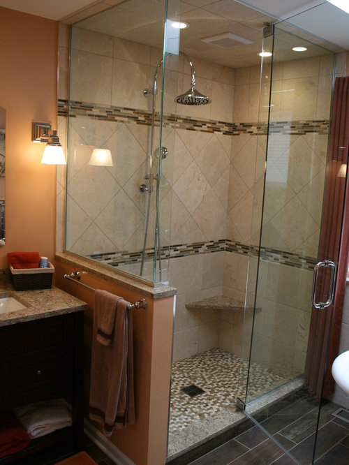 example of a mid sized transitional master beige tile brown tile and matchstick tile - Matchstick Tile Bathroom Ideas