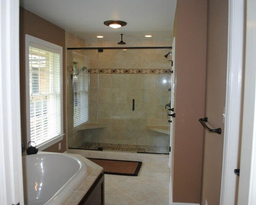 Bathroom remodel with maple cabinets and giallo ornamental