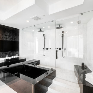 Double Shower Contemporary Master White Tile Floor Idea In Miami With A