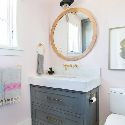 Beach style mosaic tile floor and multicolored floor bathroom photo in Orange County with shaker cabinets, gray cabinets, pink walls, an undermount sink and white countertops