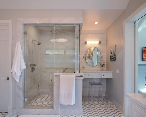 Alcove Shower   Transitional White Tile Linoleum Floor Alcove Shower Idea  In Orange County With Gray
