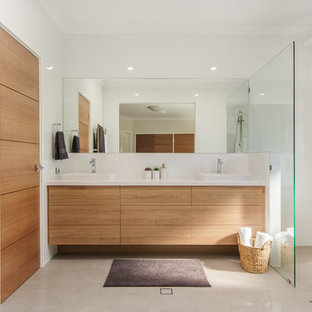 Design ideas for a large contemporary 3/4 bathroom in Perth with flat-panel cabinets, medium wood cabinets, an open shower, yellow tile, ceramic tile, ceramic floors, a vessel sink, engineered quartz benchtops, green floor, an open shower and white benchtops.