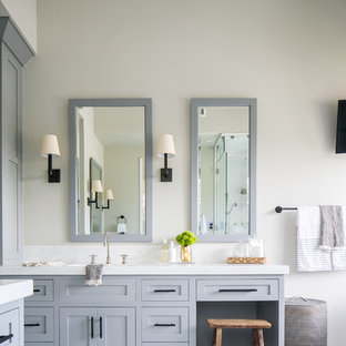 Large transitional master multicolored floor bathroom photo in Orange County with shaker cabinets, gray cabinets, gray walls, an undermount sink and marble countertops
