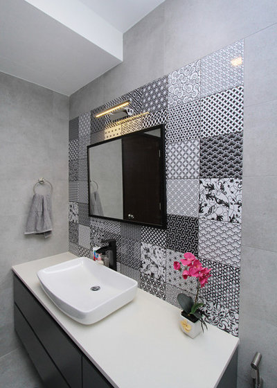 Eclectic Bathroom by Nic & Wes Builders Pte Ltd