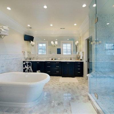 Inspiration for a contemporary subway tile freestanding bathtub remodel in Denver