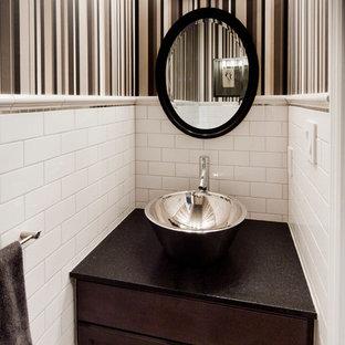 Bathroom Contemporary Subway Tile Idea In Toronto With A Vessel Sink