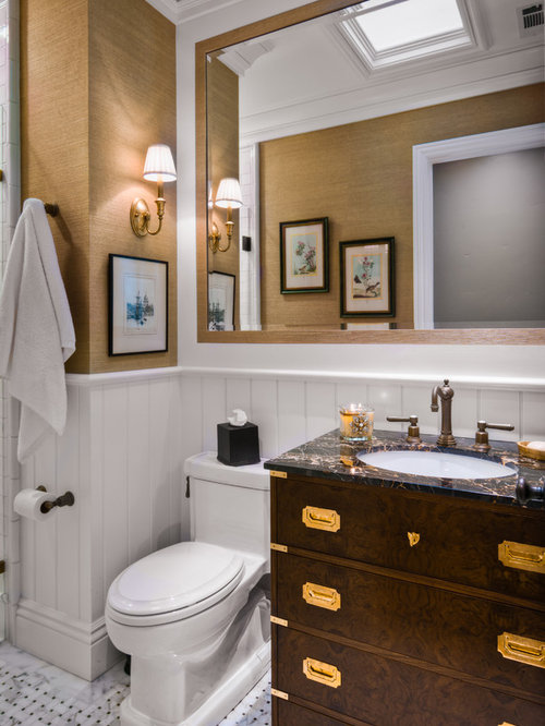 Example Of A Classic Bathroom Design In San Francisco With Furniture Like  Cabinets And Brown