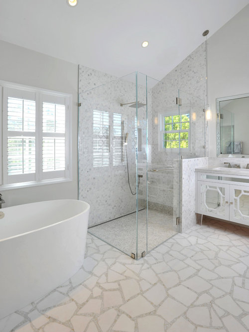 Zero entry shower bathroom design ideas remodels photos for All glass shower