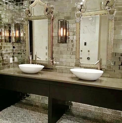 Mirrored subway tile houzz for Mirrored subway tiles
