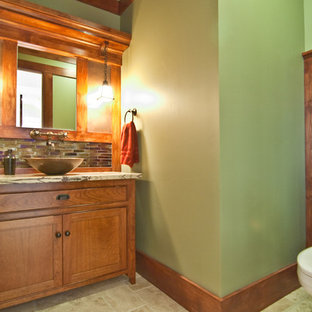 Inspiration for a craftsman bathroom remodel in Orange County with a vessel sink