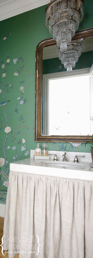 Powder Room and Hand Painted Floral Wall Covering