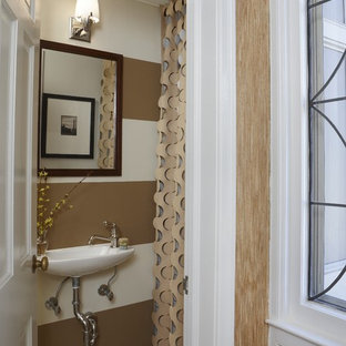 Bathroom - traditional bathroom idea in Detroit with a wall-mount sink