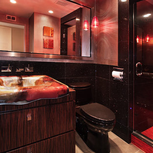 Example of a trendy red tile and matchstick tile alcove shower design in Los Angeles with a drop-in sink and flat-panel cabinets