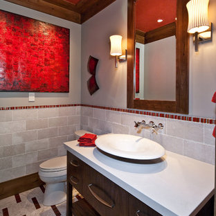 Inspiration for a contemporary multicolored floor bathroom remodel in Salt Lake City with a vessel sink