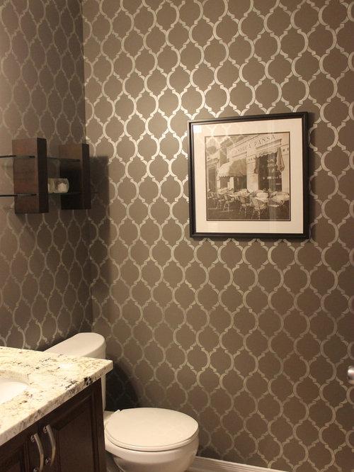 powder room stencil design ideas remodel pictures houzz