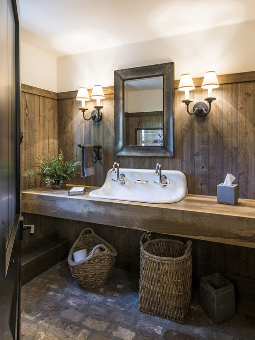 Example Of A Large Country Brick Floor Bathroom Design In Louisville With  Open Cabinets, Medium