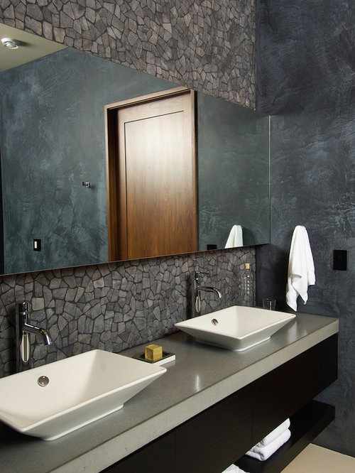 Remodel Bathroom Sink : Example of a country bathroom design in Other with a vessel sink