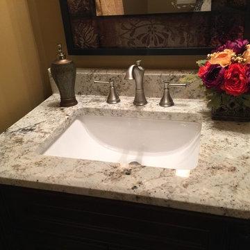 Powder room top w/ White Galaxy granite