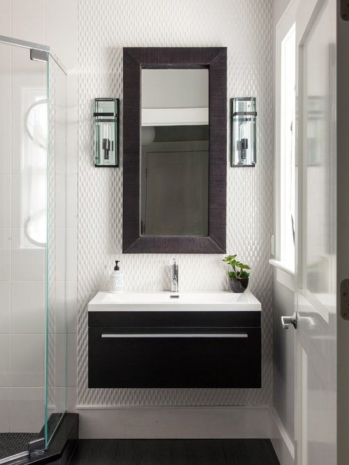 Mid Sized Trendy White Tile And Mosaic Tile Dark Wood Floor Bathroom Photo  In Boston