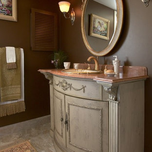 Example of a mid-sized classic 3/4 marble floor bathroom design in Boston with a drop-in sink, furniture-like cabinets, marble countertops, brown walls and gray cabinets