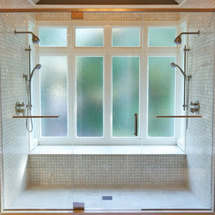Transitional double shower photo in Atlanta