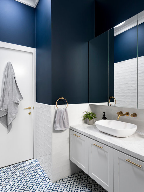 transitional bathroom ideas. Design Ideas For A Mid-sized Transitional Master Bathroom In Melbourne With White Cabinets,