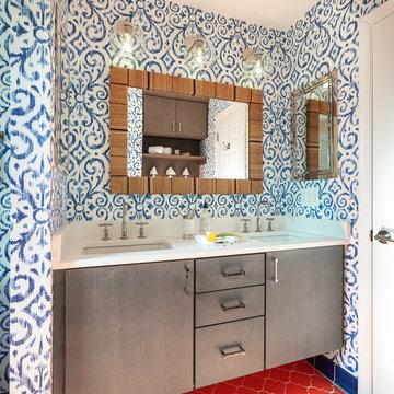 Preppy Boho Vanity with Patterned Bathroom Floor Tiles