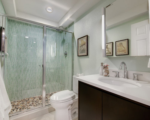 example of a mid sized trendy 34 green tile and matchstick tile pebble - Matchstick Tile Bathroom Ideas