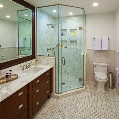 Example of a classic mosaic tile corner shower design in Chicago with marble countertops