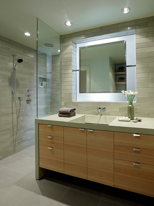 Example Of A Trendy Gray Tile Bathroom Design In San Francisco With A  Trough Sink,