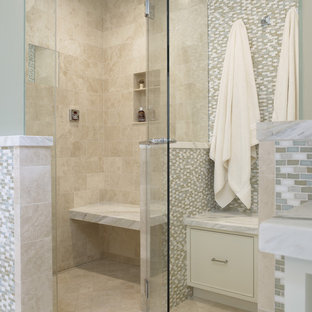 Traditional bathroom in San Francisco with mosaic tiles.