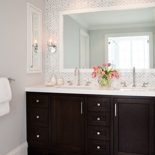 Inspiration for a transitional white tile and stone tile marble floor bathroom remodel in San Francisco with dark wood cabinets, gray walls and shaker cabinets