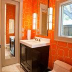 Vanity with white countertop and mosaic glass tile back - Preston hardware bathroom vanities ...