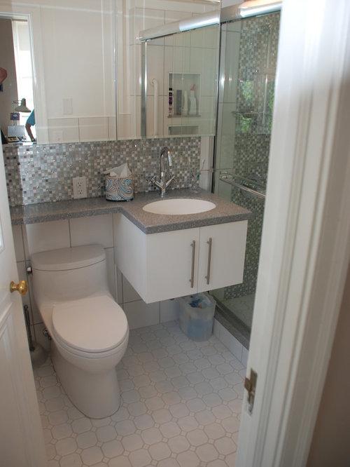 Modern 3 4 bathroom design ideas remodels photos for Small 4 piece bathroom