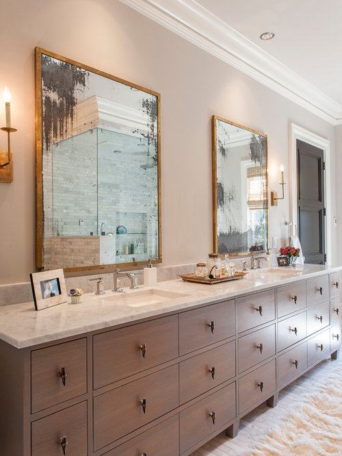 Long vanity houzz for Long bathroom vanity